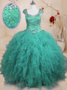 Cap Sleeves Beading and Ruffles Lace Up Quinceanera Dresses
