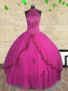 Best Selling Ball Gowns Sweet 16 Quinceanera Dress Fuchsia Halter Top Tulle Sleeveless Floor Length Lace Up