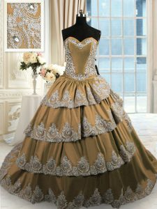 Attractive Brown Lace Up Sweetheart Beading and Appliques and Ruffled Layers Sweet 16 Dress Taffeta Sleeveless Court Train