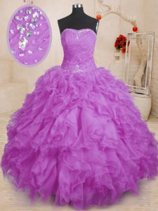 Purple Lace Up Sweet 16 Quinceanera Dress Beading and Ruffles and Ruching Sleeveless Floor Length