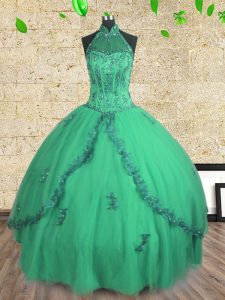Sweet Halter Top Turquoise Sleeveless Tulle Lace Up Quinceanera Dress for Military Ball and Sweet 16 and Quinceanera