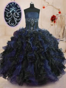 Blue And Black Sleeveless Organza Lace Up Quinceanera Dresses for Military Ball and Sweet 16 and Quinceanera