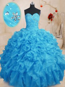 Fancy Sweetheart Sleeveless Lace Up 15th Birthday Dress Baby Blue Organza