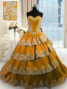 Nice Ruffled With Train Brown 15 Quinceanera Dress Sweetheart Sleeveless Court Train Lace Up