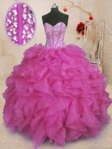 Nice Floor Length Lace Up Ball Gown Prom Dress Fuchsia for Military Ball and Sweet 16 and Quinceanera with Beading and Ruffles