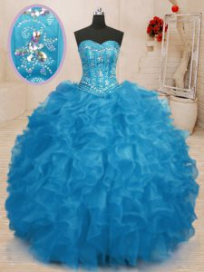 Sleeveless Organza Floor Length Lace Up 15 Quinceanera Dress in Baby Blue with Beading and Ruffles