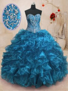 Sweetheart Sleeveless Organza Quince Ball Gowns Beading and Ruffles Sweep Train Lace Up