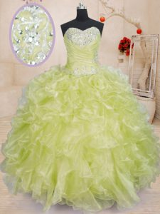 Fine Organza Sleeveless Floor Length Quinceanera Gowns and Beading and Ruffles
