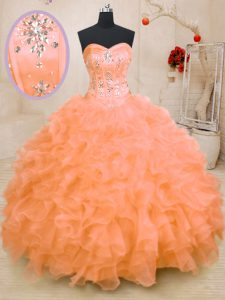 Hot Sale Orange Sweetheart Lace Up Beading and Ruffles Quinceanera Dress Sleeveless