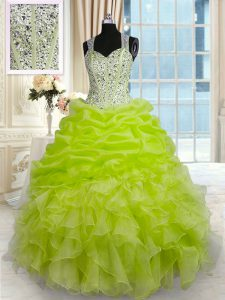 Delicate Yellow Green Sleeveless Beading and Ruffles and Pick Ups Floor Length Quinceanera Dresses