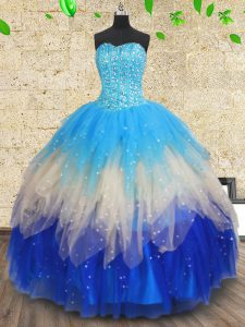 Best Selling Multi-color Sleeveless Beading and Ruffles and Ruffled Layers Floor Length Sweet 16 Quinceanera Dress