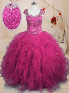 Fuchsia Cap Sleeves Floor Length Beading and Ruffles Lace Up Quinceanera Gowns