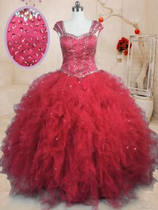 Tulle Square Cap Sleeves Lace Up Beading and Ruffles Quince Ball Gowns in Red