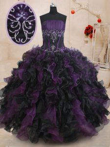Excellent Strapless Sleeveless Lace Up Sweet 16 Quinceanera Dress Black And Purple Organza