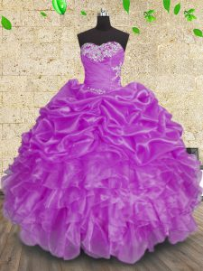 Vintage Floor Length Purple Quinceanera Gowns Sweetheart Sleeveless Lace Up