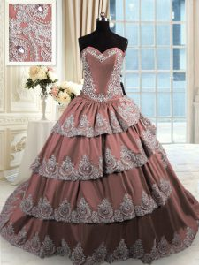 Extravagant Sleeveless Taffeta With Train Court Train Lace Up Quinceanera Gowns in Brown with Beading and Appliques and Ruffled Layers