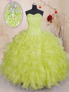 Yellow Green Ball Gowns Organza Sweetheart Sleeveless Beading and Ruffles Floor Length Lace Up Sweet 16 Quinceanera Dress