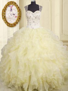 Straps Sleeveless Sweet 16 Dress Floor Length Beading and Ruffles Light Yellow Organza