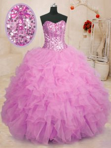 Glorious Lilac Ball Gowns Beading and Ruffles Quinceanera Dresses Lace Up Organza Sleeveless Floor Length