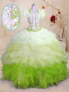 Multi-color Sleeveless Organza Brush Train Lace Up 15 Quinceanera Dress for Military Ball and Sweet 16 and Quinceanera