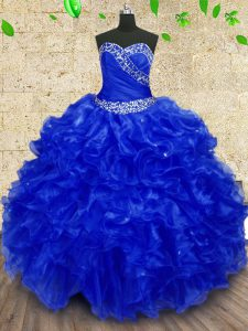 Adorable Royal Blue Sleeveless Organza Lace Up 15th Birthday Dress for Military Ball and Sweet 16 and Quinceanera