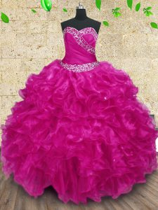 Fuchsia Lace Up Quinceanera Gown Beading and Ruffles and Ruching Sleeveless Floor Length