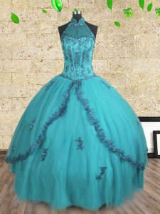 Halter Top Sleeveless Tulle 15 Quinceanera Dress Beading Lace Up