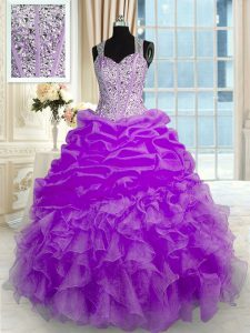 Admirable Lilac Zipper Straps Beading and Ruffles Sweet 16 Quinceanera Dress Organza Sleeveless