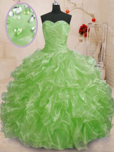 Most Popular Sleeveless Beading and Ruffles Lace Up Vestidos de Quinceanera