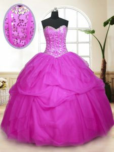 Fuchsia Tulle Lace Up Quinceanera Gown Sleeveless Floor Length Sequins and Pick Ups