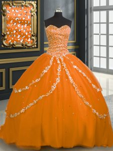 Nice Sweetheart Sleeveless Tulle Sweet 16 Dress Beading and Appliques Brush Train Lace Up