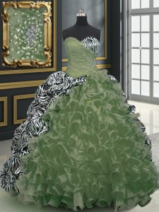 Fantastic Printed With Train Olive Green Quinceanera Dresses Sweetheart Sleeveless Brush Train Lace Up