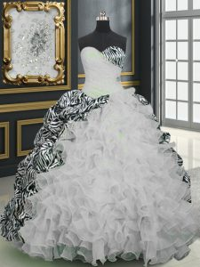 Custom Made Printed White Ball Gown Prom Dress Military Ball and Sweet 16 and Quinceanera with Beading and Ruffles and Pattern Sweetheart Sleeveless Brush Train Lace Up