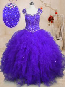 Wonderful Square Cap Sleeves Tulle Quinceanera Gowns Beading and Ruffles and Sequins Lace Up