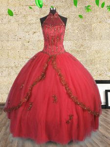 Nice Halter Top Sleeveless Beading Lace Up Vestidos de Quinceanera