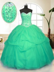 Great Green Sweetheart Lace Up Sequins and Pick Ups Sweet 16 Dresses Sleeveless