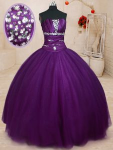 Dark Purple Tulle Lace Up Quinceanera Gowns Sleeveless Floor Length Beading