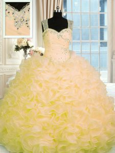 Comfortable Floor Length Ball Gowns Sleeveless Gold Vestidos de Quinceanera Zipper