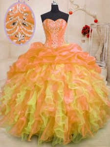 Luxury Multi-color Sleeveless Floor Length Beading and Ruffles Lace Up Quince Ball Gowns