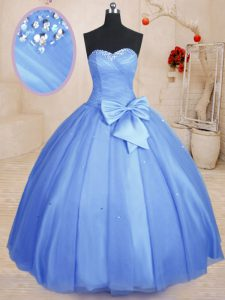 Suitable Light Blue Lace Up Sweetheart Beading and Bowknot Sweet 16 Dresses Tulle Sleeveless