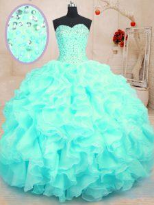 Fashionable Organza Sweetheart Sleeveless Lace Up Beading and Ruffles Sweet 16 Dress in Aqua Blue