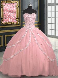 Classical Sweetheart Sleeveless Brush Train Lace Up Sweet 16 Dress Pink Tulle