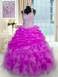 Sleeveless Zipper Floor Length Beading and Ruffles and Pick Ups 15th Birthday Dress