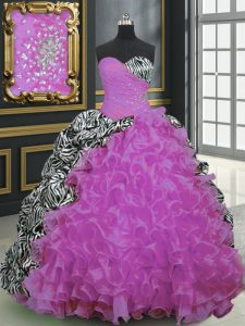 Printed Beading and Ruffles and Pattern Sweet 16 Quinceanera Dress Fuchsia Lace Up Sleeveless With Brush Train
