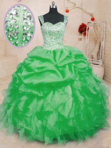Great Quinceanera Dresses Military Ball and Sweet 16 and Quinceanera with Beading and Ruffles and Pick Ups Straps Sleeveless Lace Up