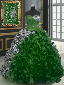 Printed Dark Green Quince Ball Gowns Military Ball and Sweet 16 and Quinceanera with Beading and Ruffles and Pattern Sweetheart Sleeveless Brush Train Lace Up