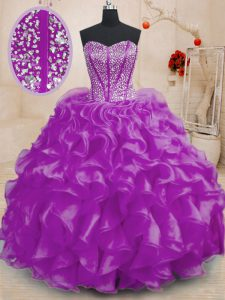 Flare Sleeveless Organza Floor Length Lace Up Quinceanera Gown in Purple with Beading and Ruffles