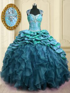 Affordable Sweetheart Cap Sleeves Organza and Taffeta Vestidos de Quinceanera Beading and Ruffles and Pick Ups Brush Train Lace Up