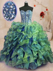 Beauteous Multi-color Sleeveless Organza Lace Up 15 Quinceanera Dress for Military Ball and Sweet 16 and Quinceanera