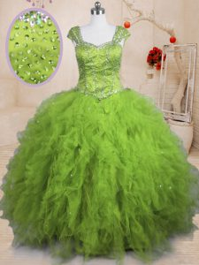 Luxurious Olive Green Lace Up Square Beading and Ruffles Sweet 16 Dresses Tulle Short Sleeves
